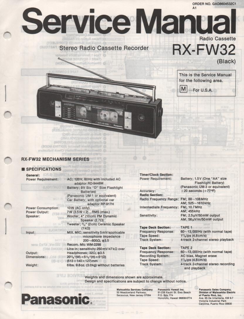 RX-FW32 AM FM Radio Cassette Recorder Service Manual