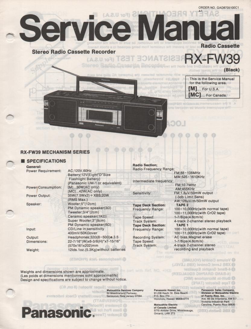 RX-FW39 AM FM Radio Cassette Recorder Service Manual