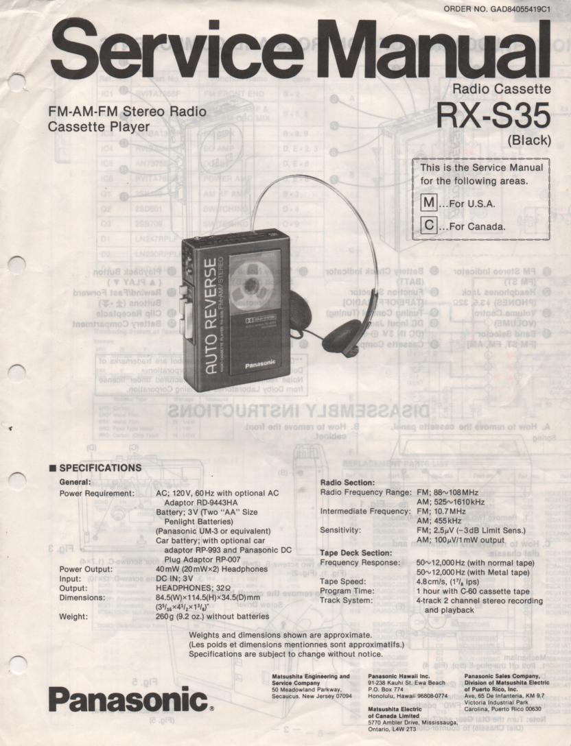 RX-S35 Mini Cassette Radio Service Manual