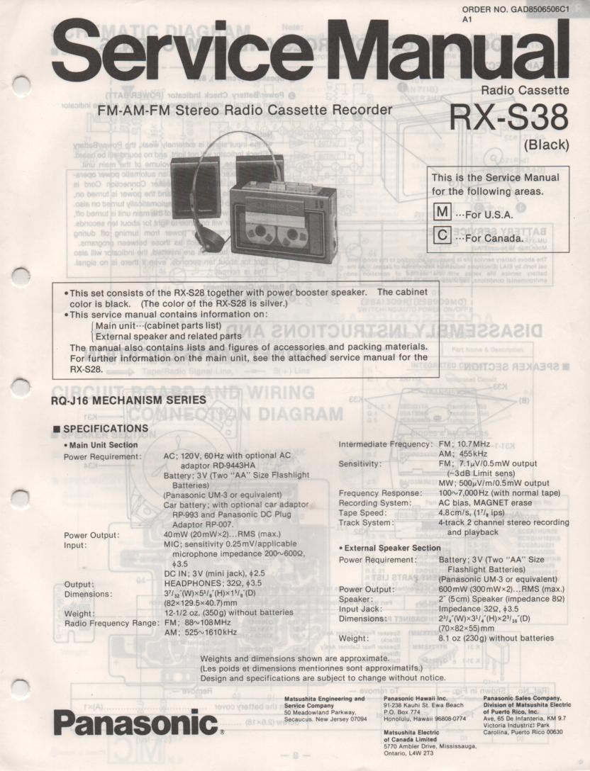 RX-S38 Mini Cassette Radio Recorder Service Manual