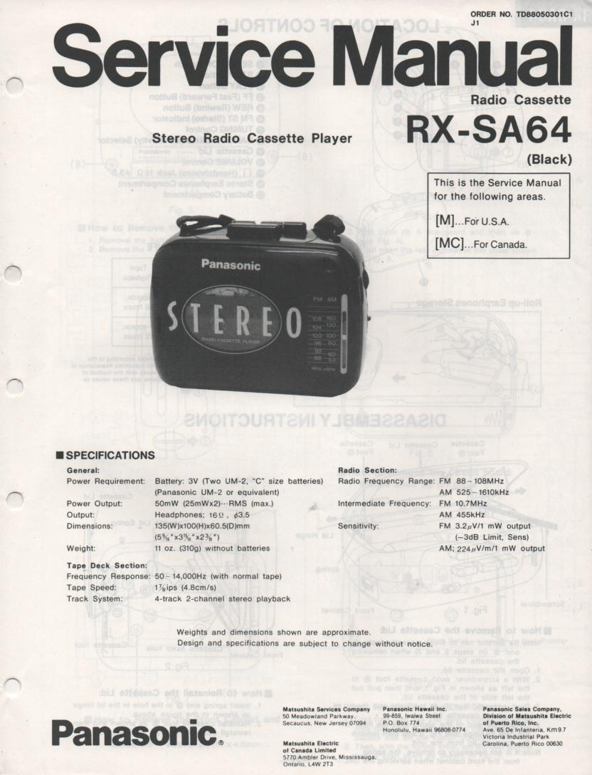 RX-SA64 Mini Cassette Radio Player Service Manual