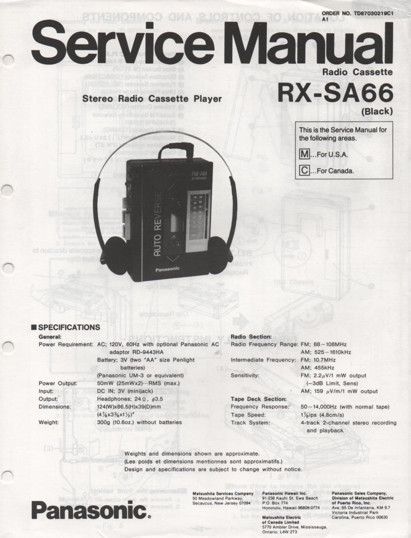 RX-SA66 Mini Cassette Radio Player Service Manual