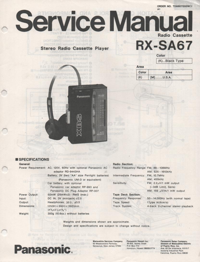 RX-SA67 Mini Cassette Radio Player Service Manual