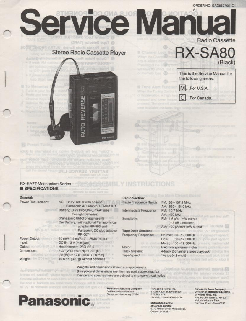 RX-SA80 Mini Cassette Radio Player Service Manual