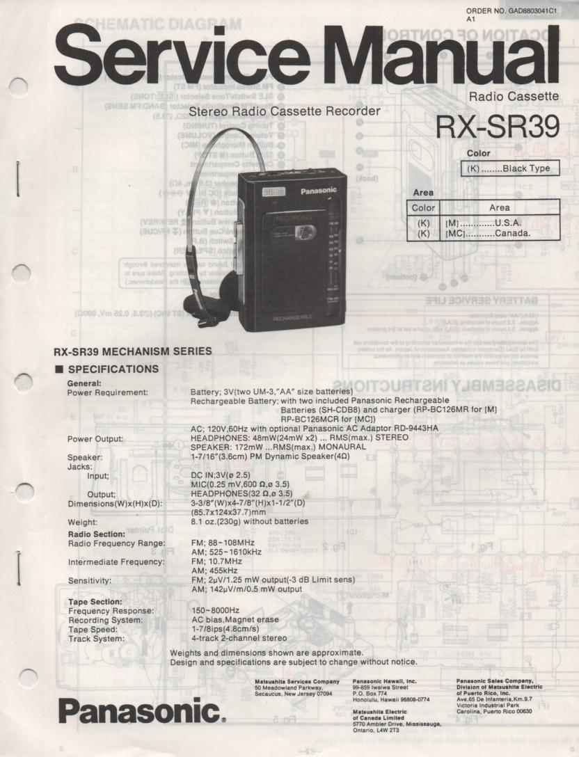 RX-SR39 Mini Cassette Radio Recorder Service Manual