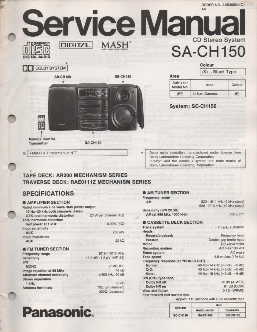 SA-CH150 CD Player Cassette Stereo System Service Manual