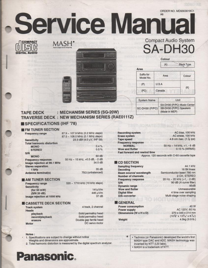 SA-DH30 CD Player Cassette Compact Audio System Service Manual