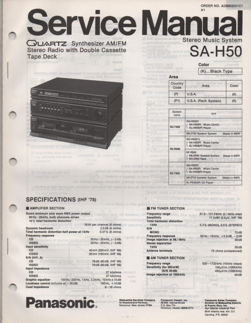 SA-H50 Double Cassette Compact Audio System Service Manual