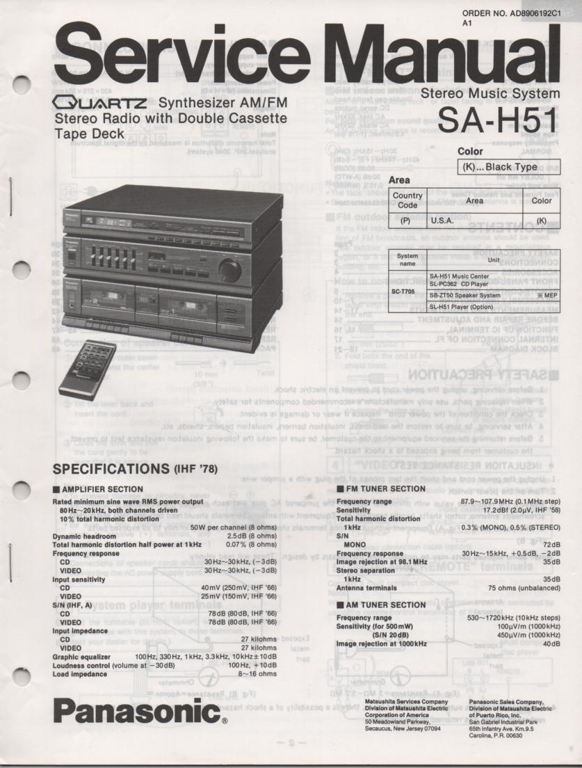 SA-H51 Double Cassette Compact Audio System Service Manual