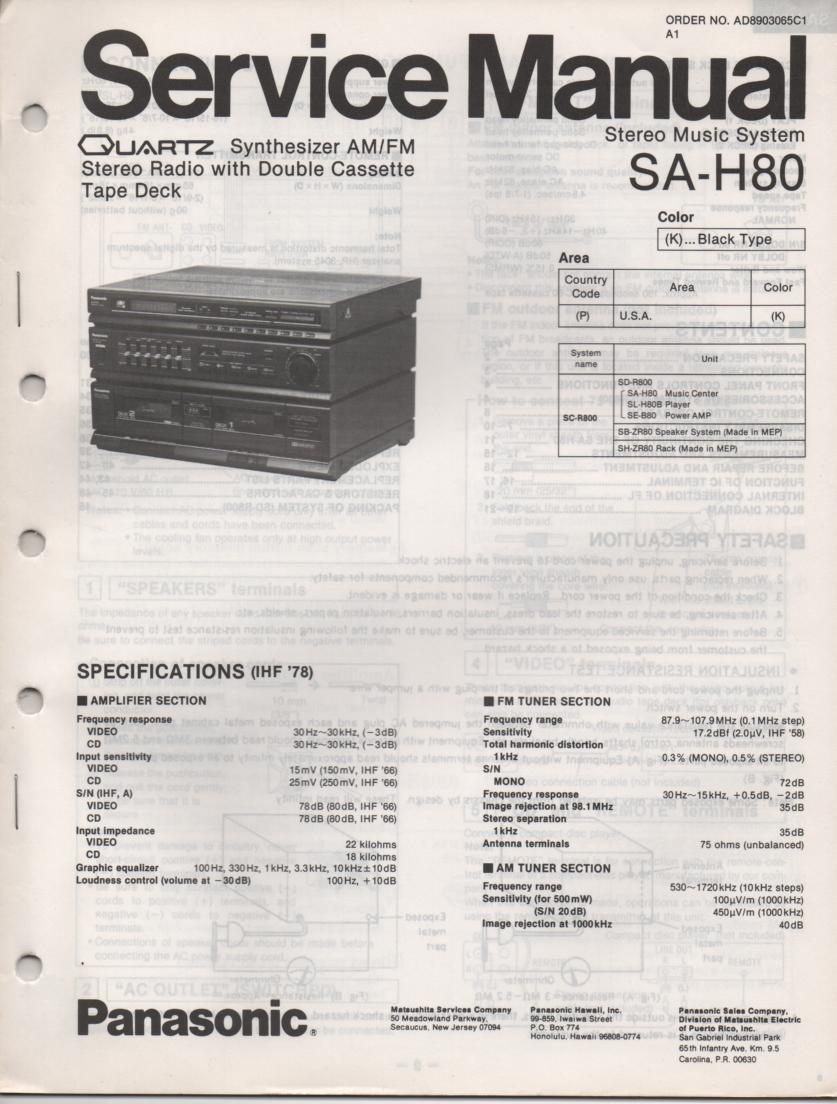 SA-H80 Double Cassette Compact Audio System Service Manual