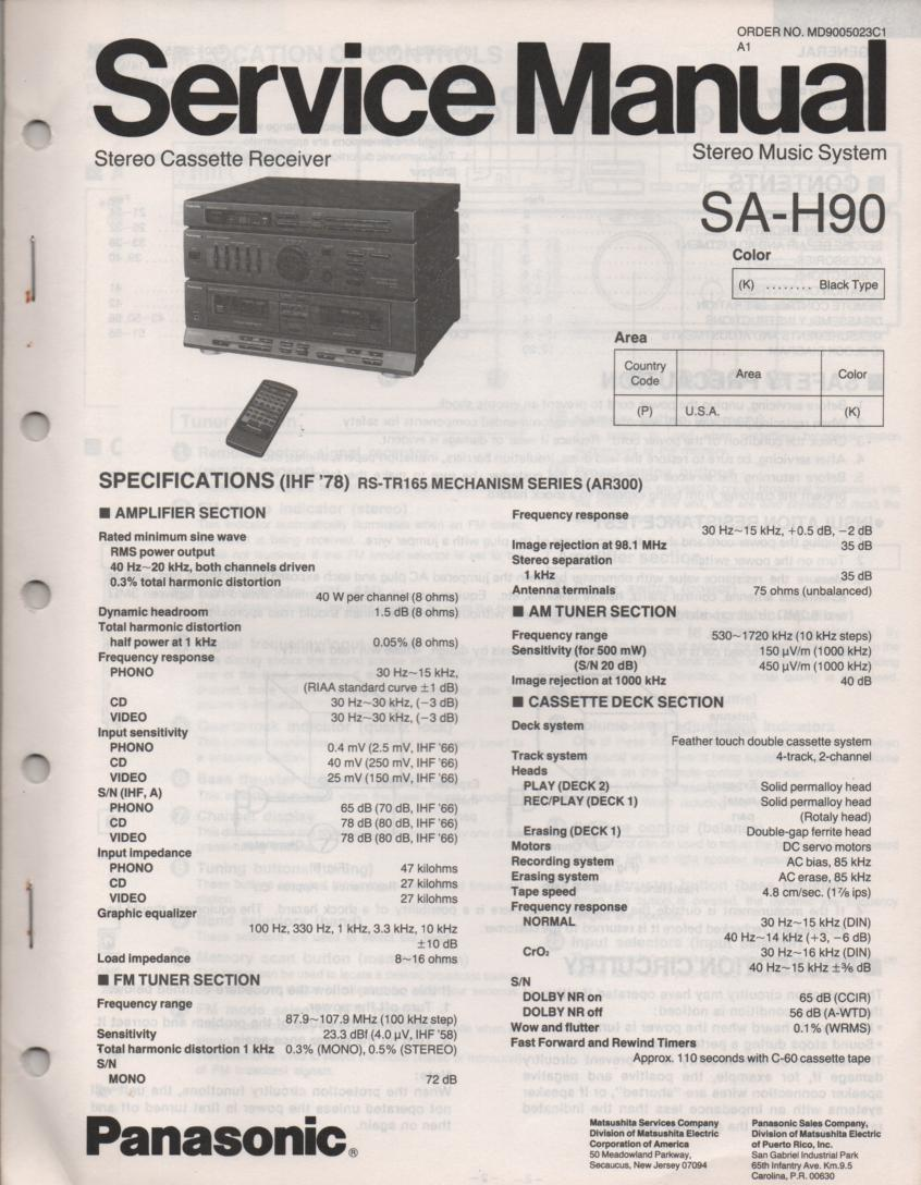 SA-H90 Double Cassette Compact Audio System Service Manual