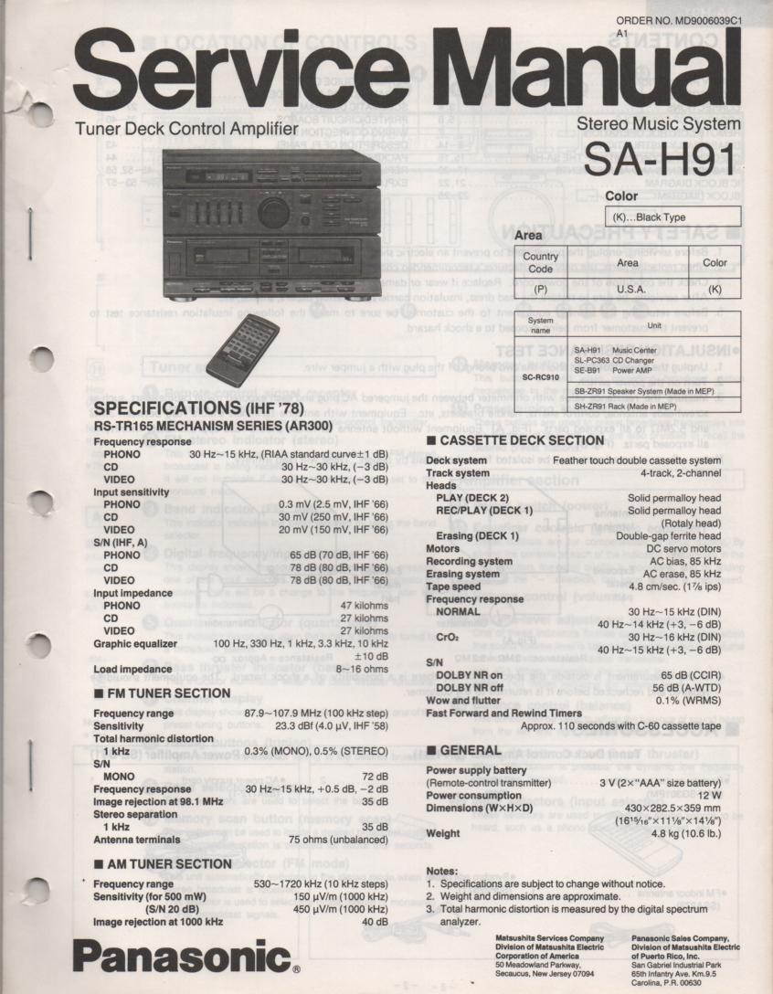 SA-H91 Double Cassette Compact Audio System Service Manual