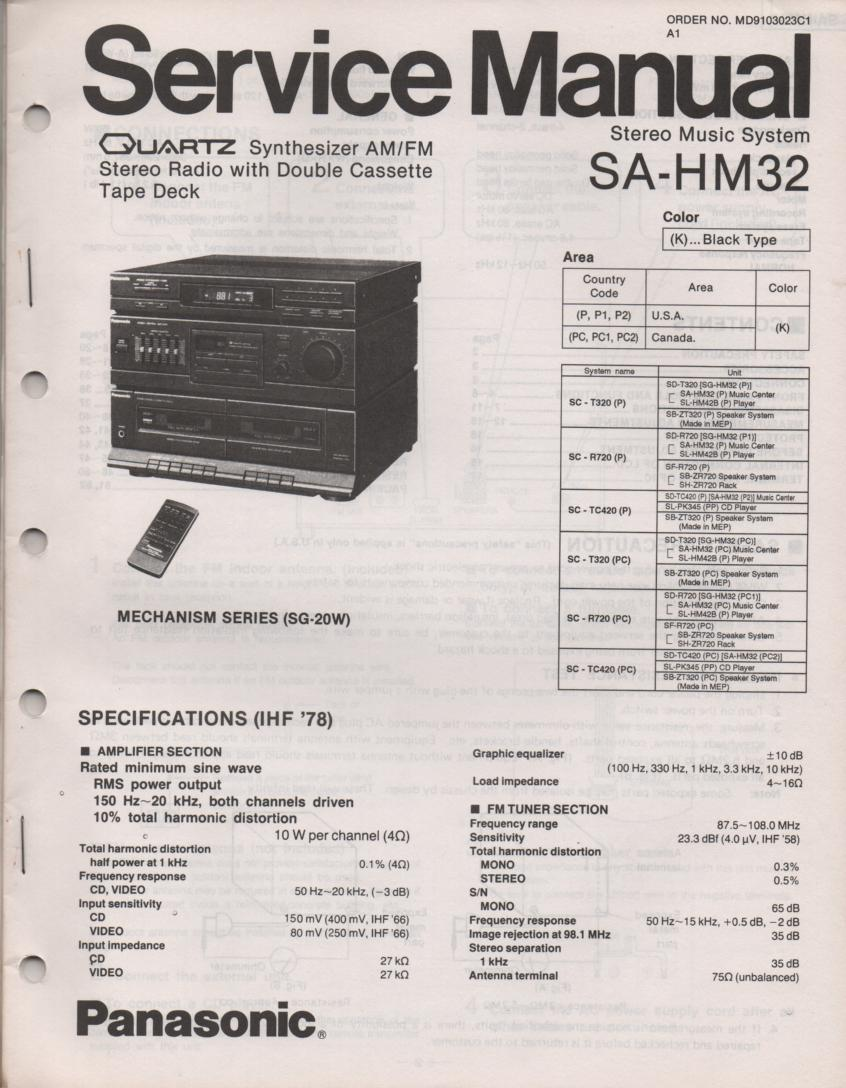 SA-HM32 CD Player Double Cassette Compact Audio System Service Manual