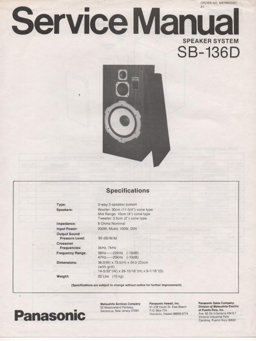 SB-136D Speaker System Service Manual