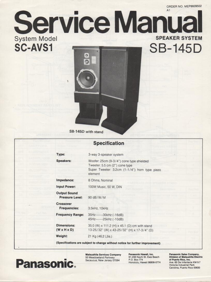 SB-145D Speaker System Service Manual