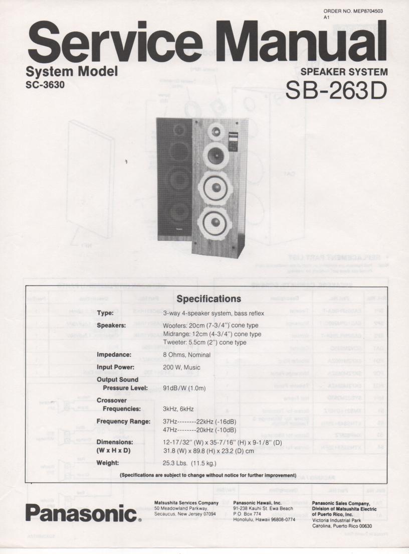 SB-263D Speaker System Service Manual