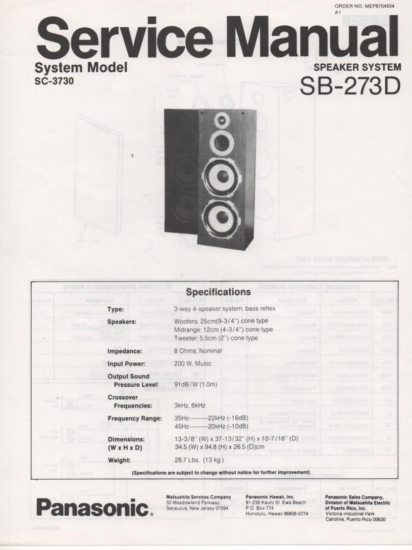 SB-273D Speaker System Service Manual
