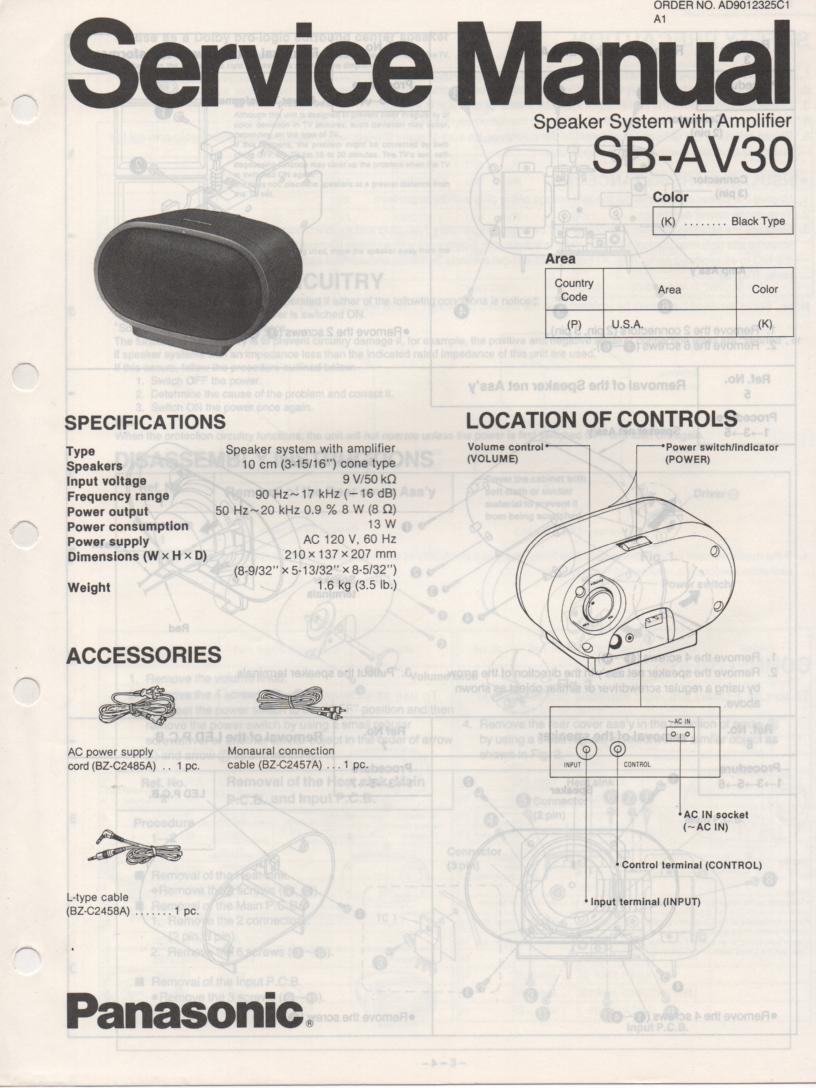 SB-AV30 Speaker System Service Manual