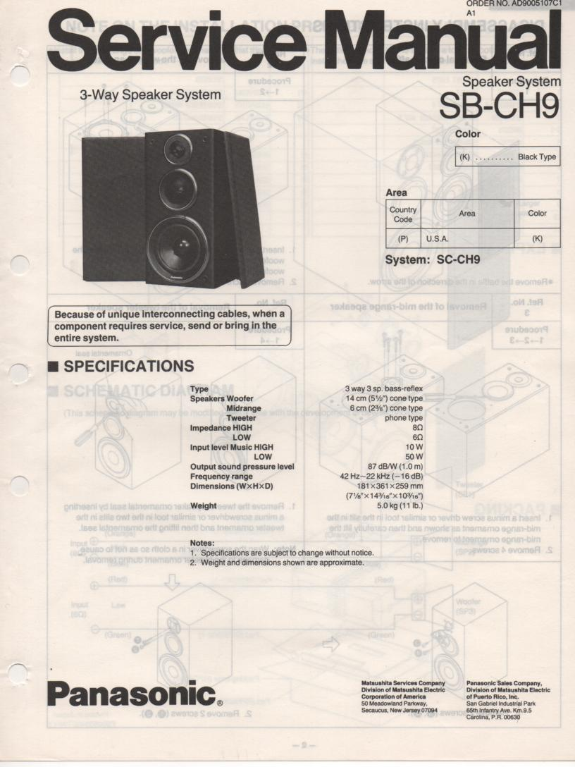 SB-CH9 Speaker System Service Manual