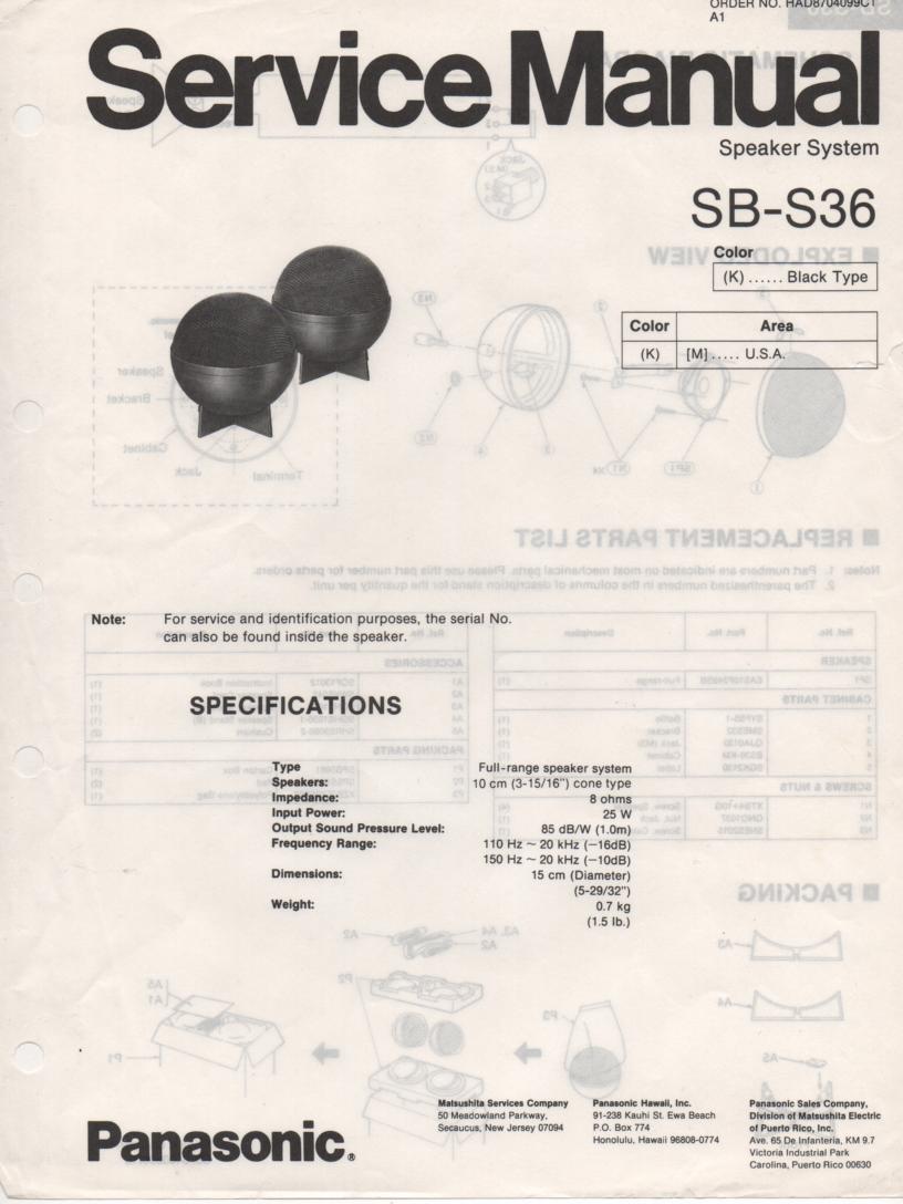 SB-S36 Speaker System Service Manual
