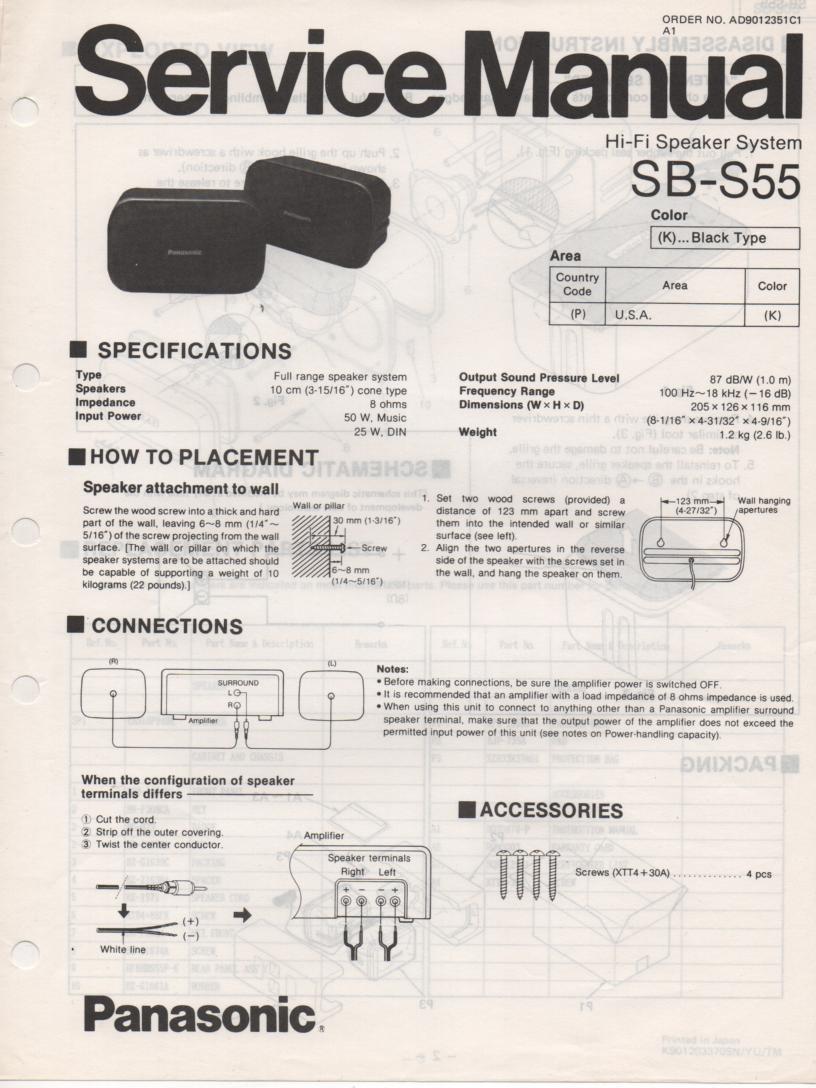 SB-S55 Speaker System Service Manual
