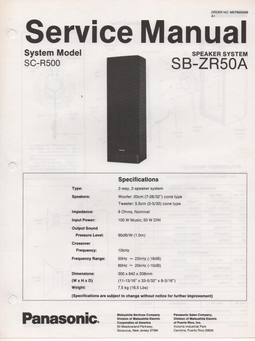 SB-ZR50A Speaker System Service Manual