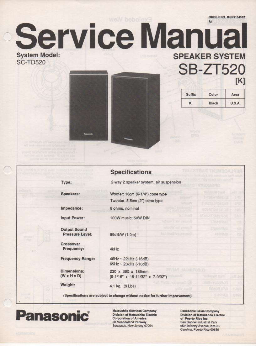 SB-ZT520 Speaker System Service Manual