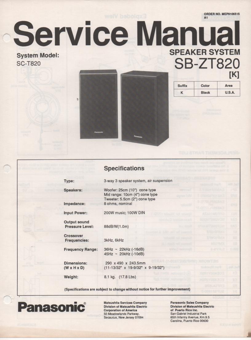 SB-ZT820 Speaker System Service Manual