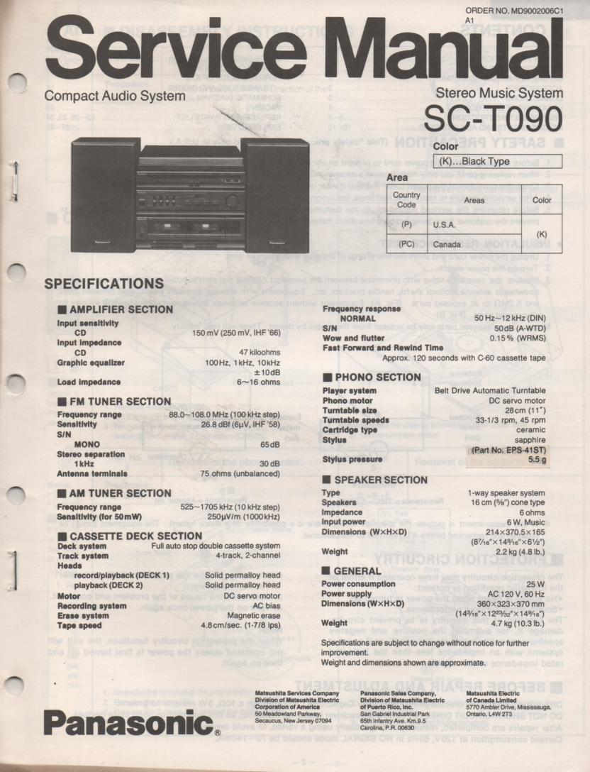 SC-T090 Stereo System Service Instruction Manual