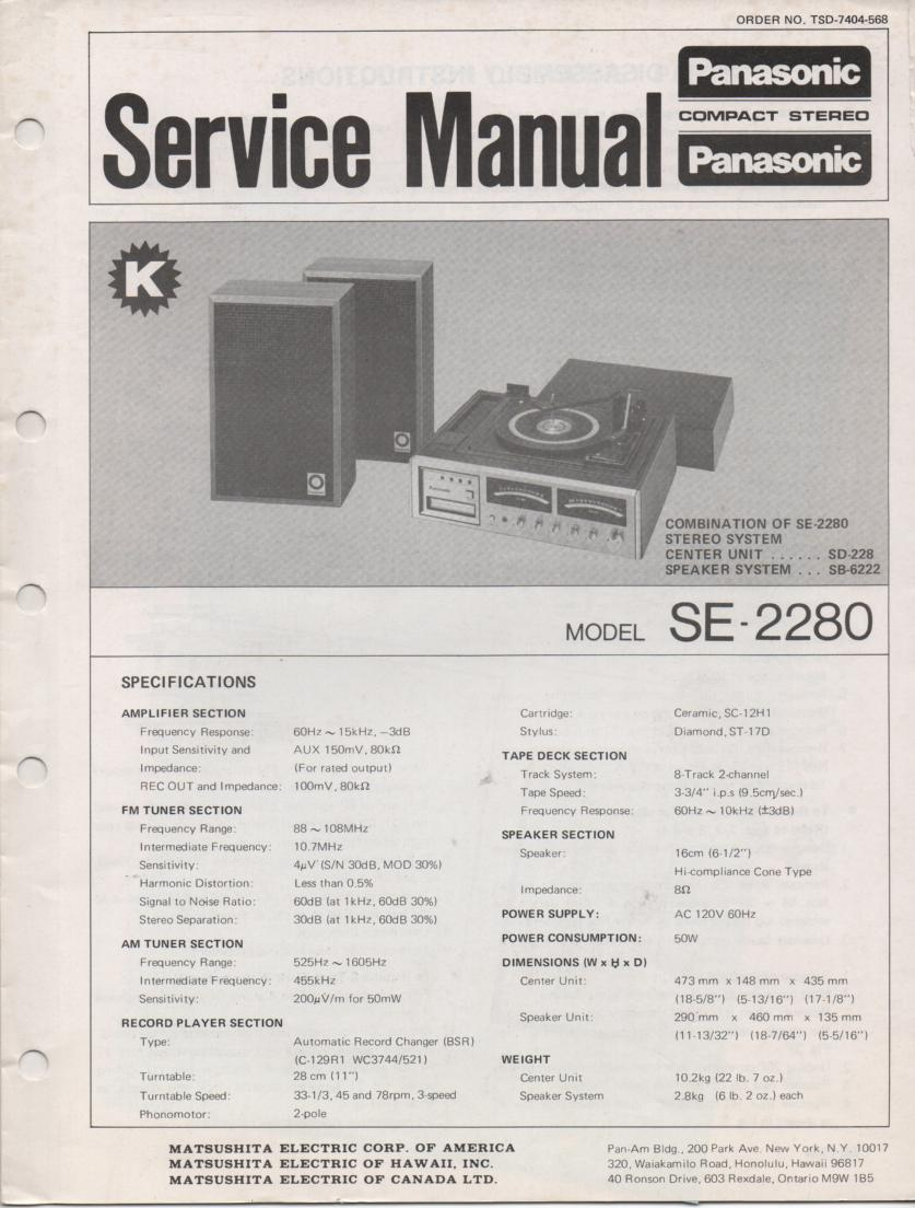 SE-2280 Stereo System Service Manual