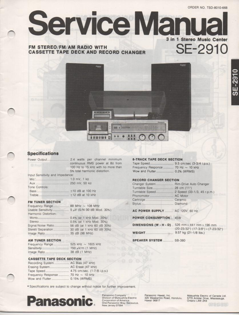 SE-2910 Stereo System Service Manual