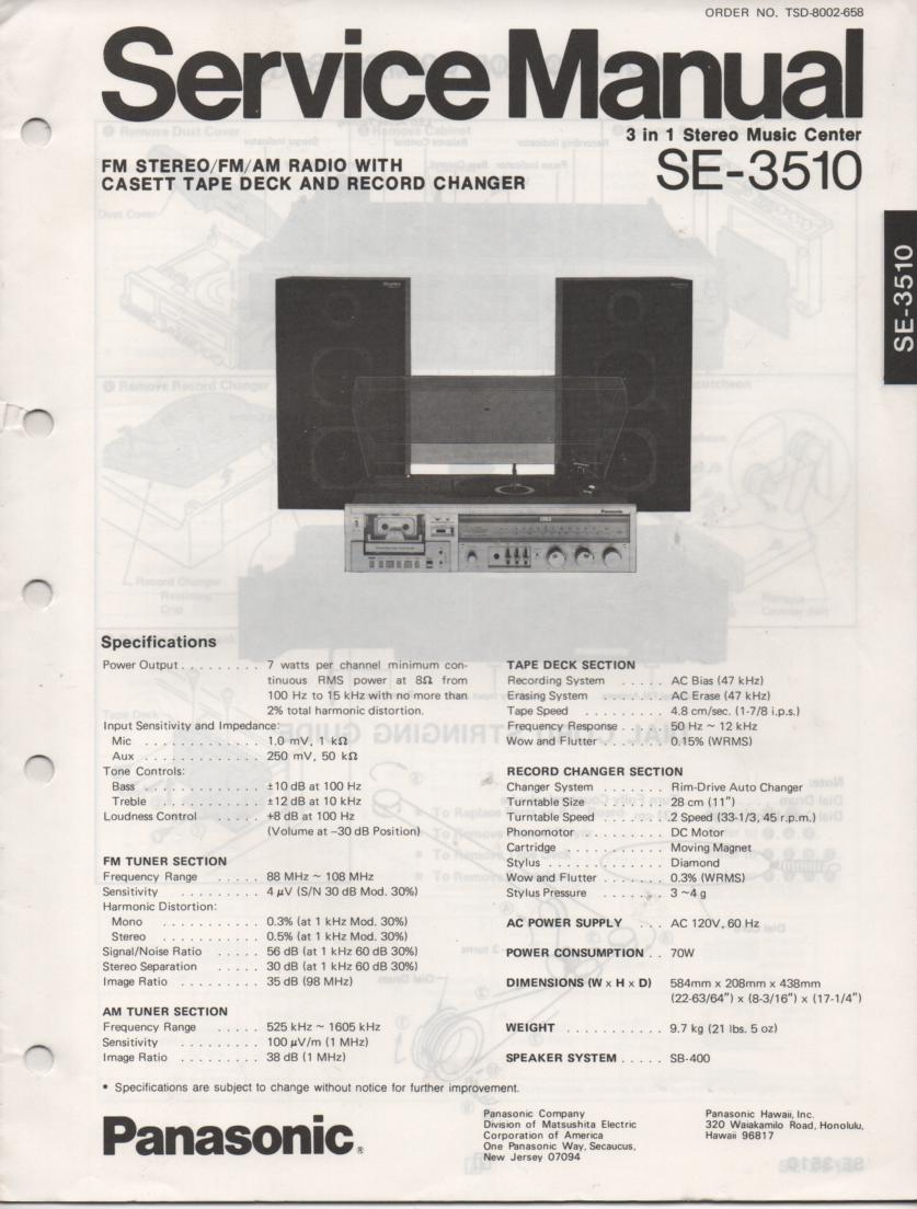 SE-3510 Stereo System Service Manual