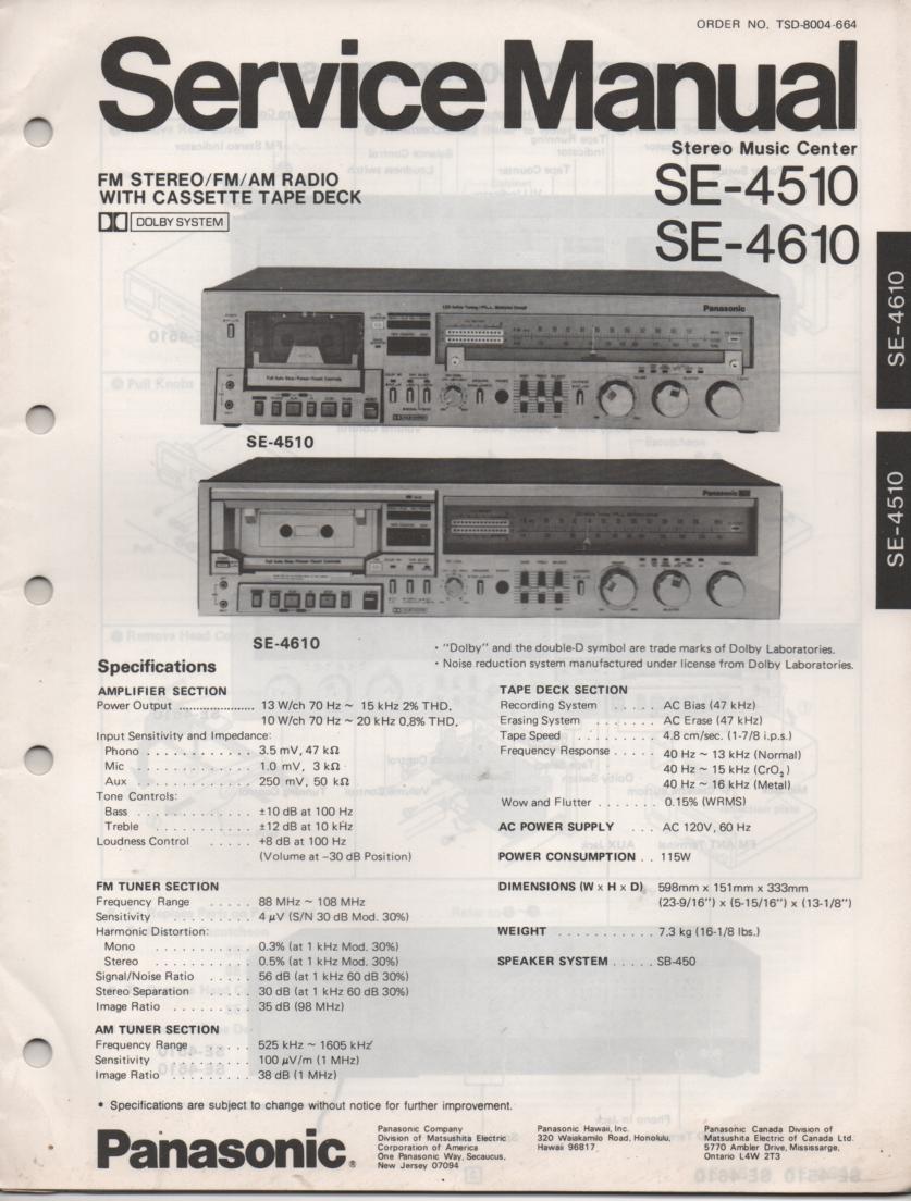 SE-4510 SE-4610 Stereo System Service Manual