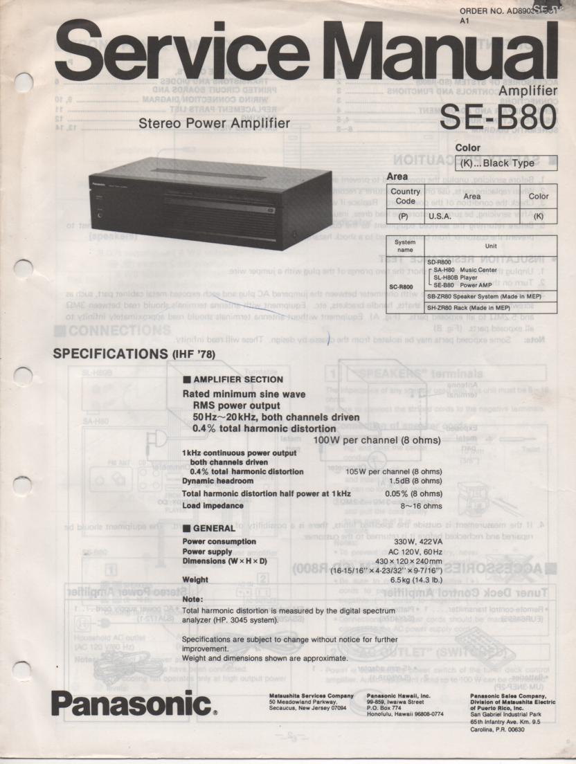 SE-B80 Amplifier Service Manual