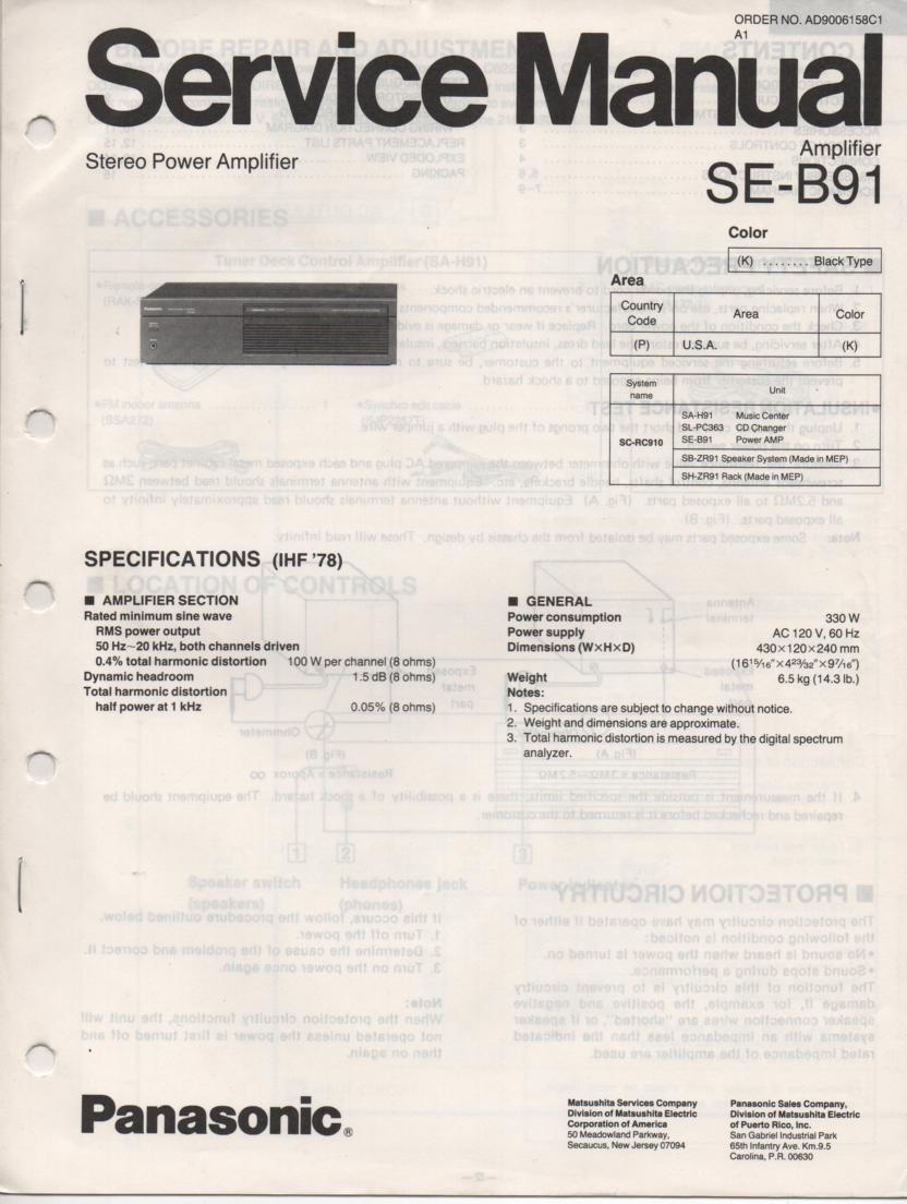 SE-B91 Amplifier Service Manual