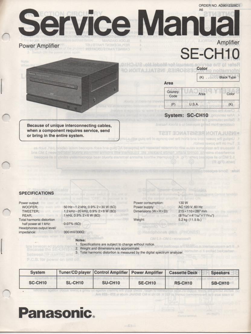 SE-CH10 Amplifier Service Manual