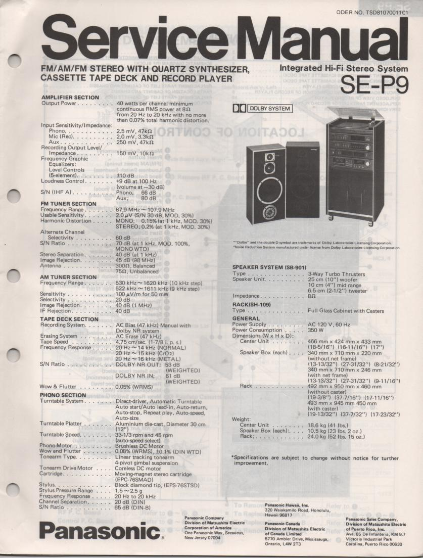 SE-P9 Integrated Hi Fi Stereo System