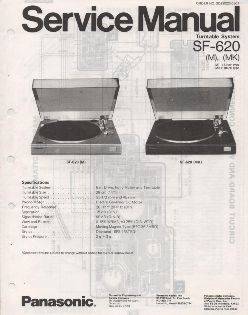 SF-620 Turntable Service Manual