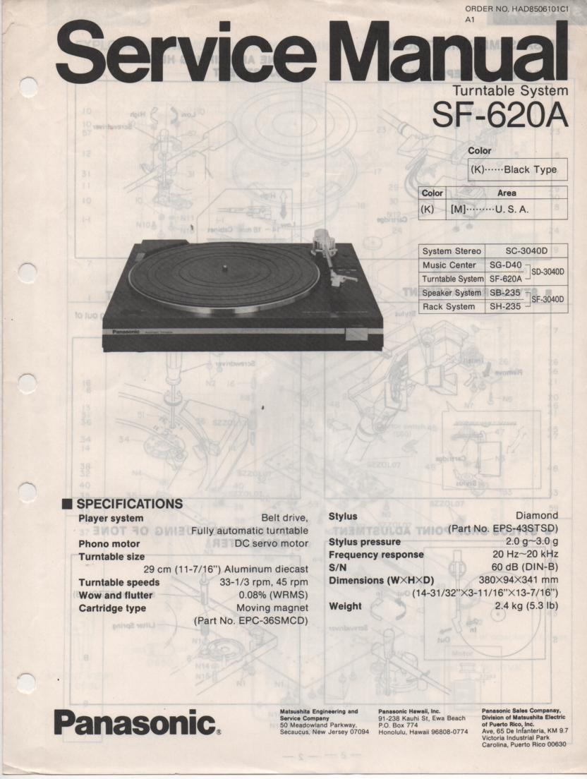 SF-620A Turntable Service Manual
