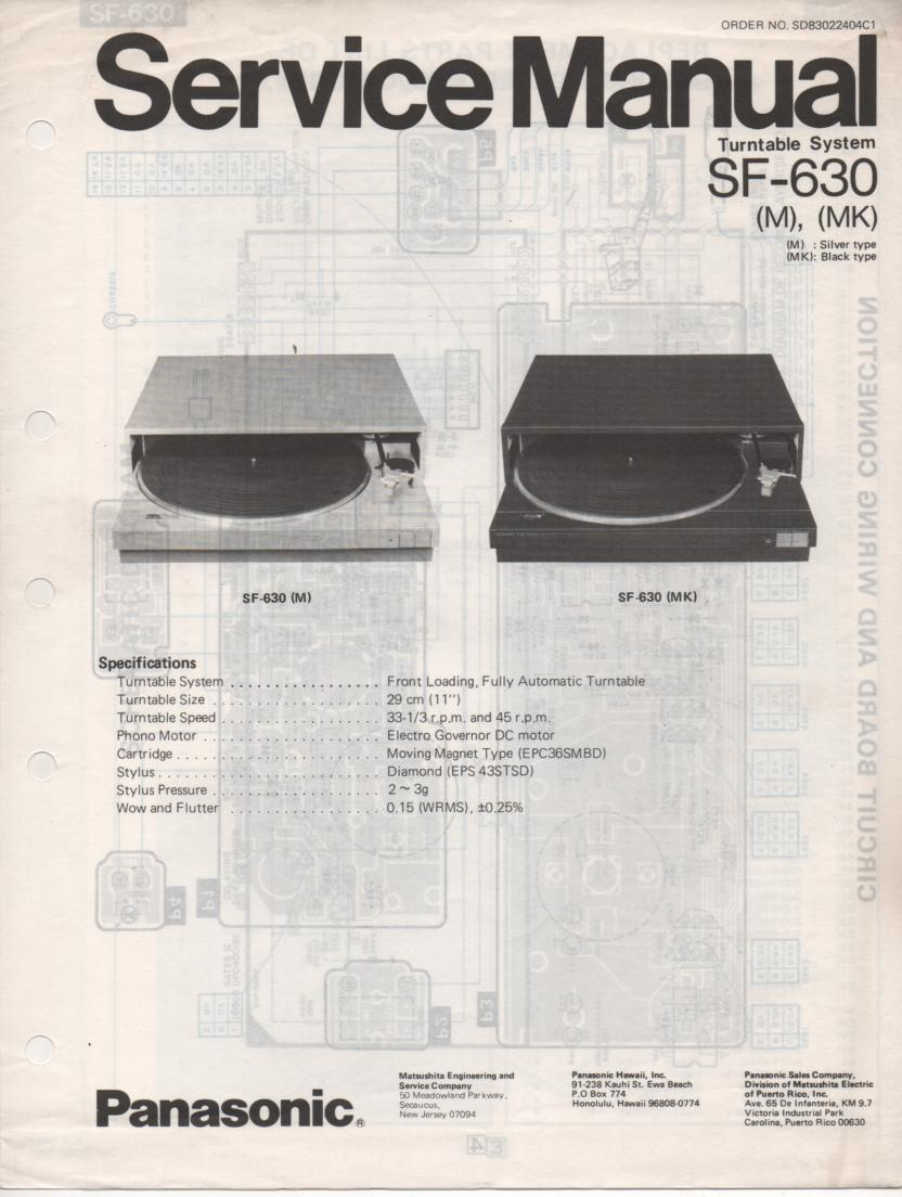 SF-630 Turntable Service Manual