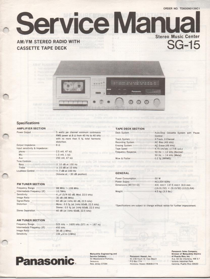 SG-15 Cassette Receiver Service Manual