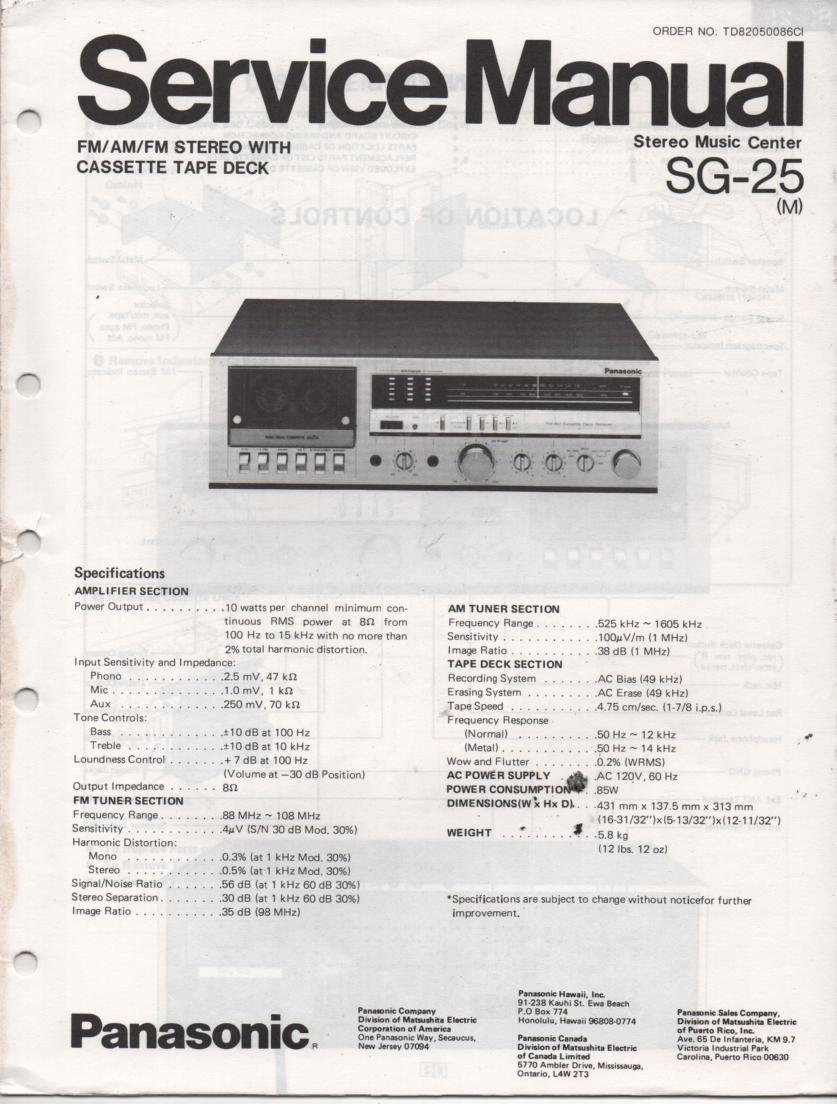 SG-25 Cassette Receiver Service Manual