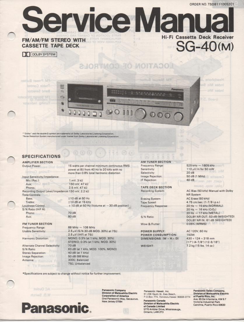 SG-40 Cassette Receiver Service Manual