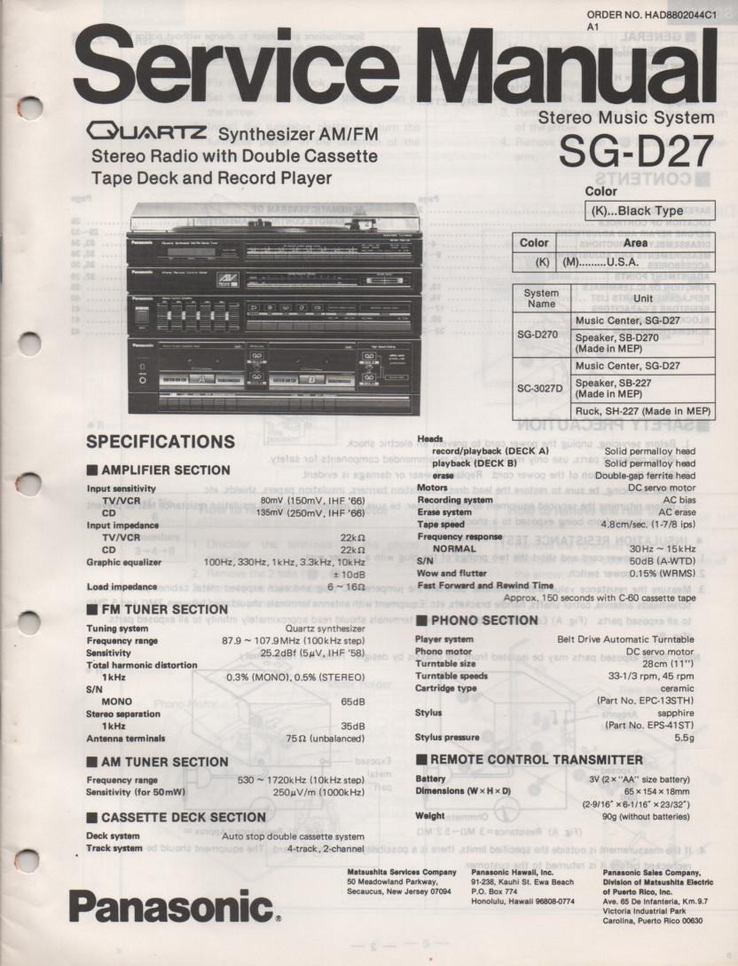 SG-D27 Music Center Stereo System Service Manual