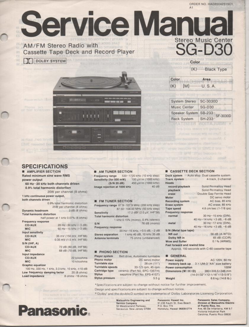 SG-D30 Music Center Stereo System Service Manual