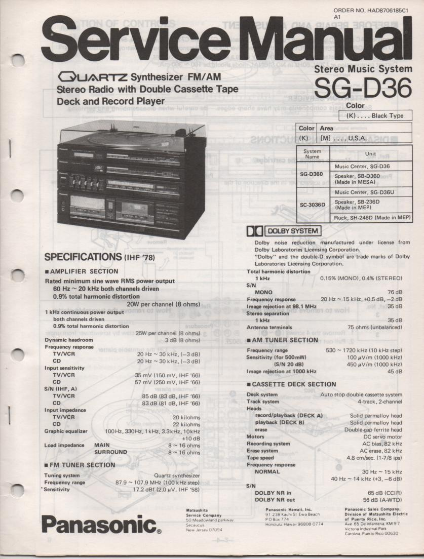 SG-D36 Music Center Stereo System Service Manual