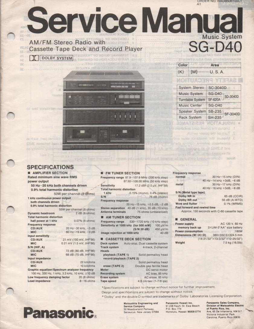 SG-D40 Music Stereo System Service Manual