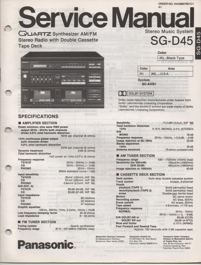 SG-D45 Music Stereo System Service Manual