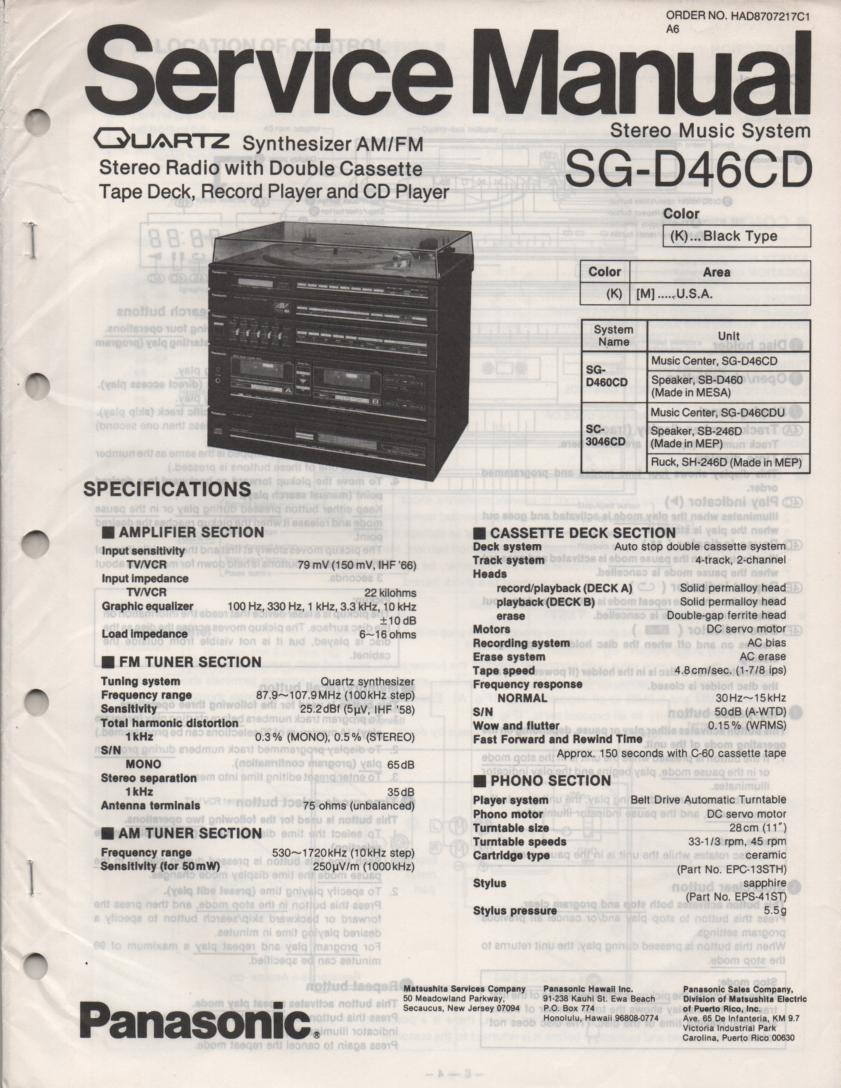SG-D46CD Music Stereo System Service Manual
