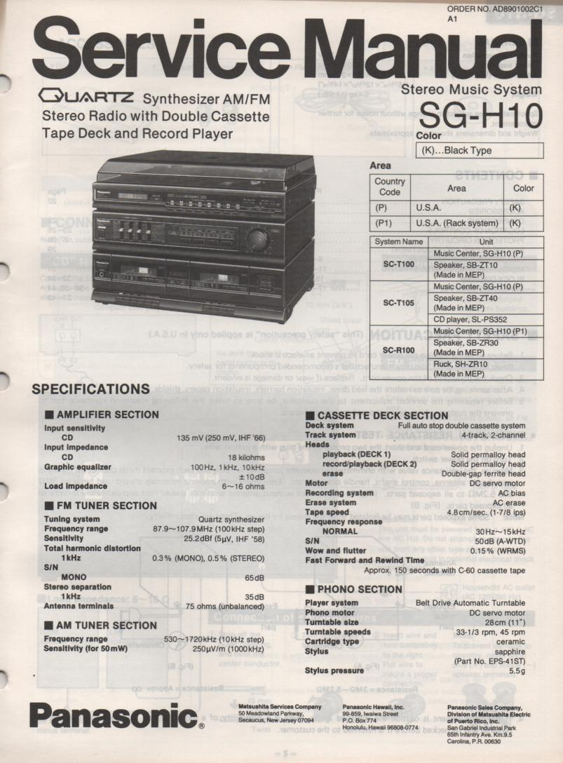 SG-H10 Music Stereo System Service Manual